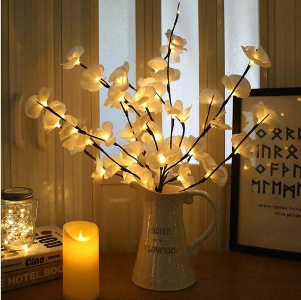 Branche d'Orchidée Lumineuse LED Flash Ventes Blanc