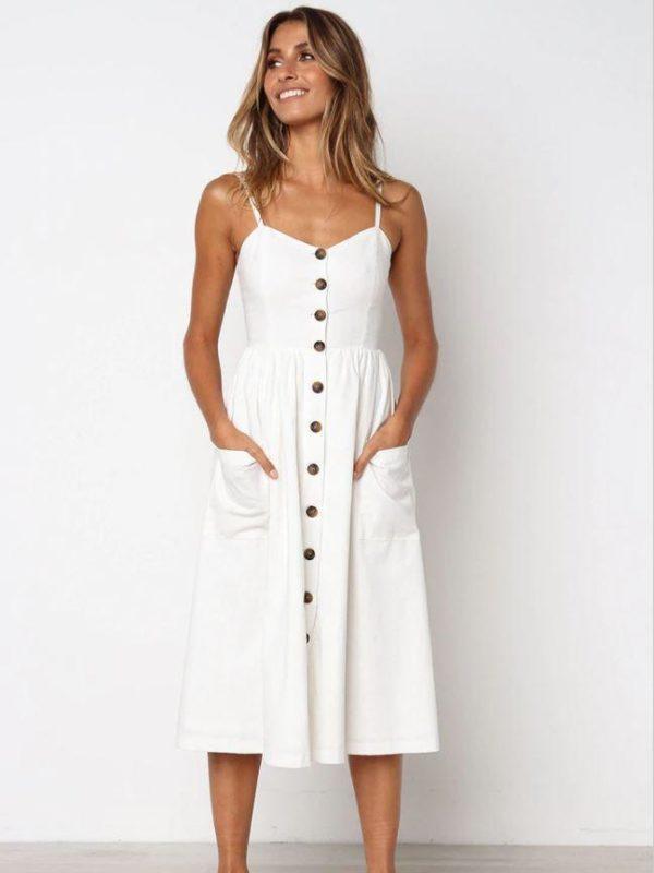 Robe Midi Boutonnée Site Vêtements Blanc XL