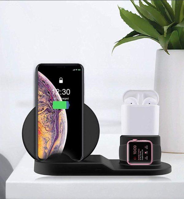 Chargeur sans fil 3 en 1 de Téléphones, Montres et Airpods raton-malin Noir Europe