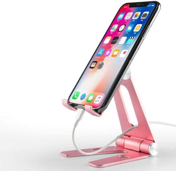 Support pliable et rotatif pour téléphone ou tablette Raton Malin Rose