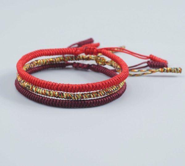 Bracelet de cordes tibétain fait à la main Raton Malin Rouge
