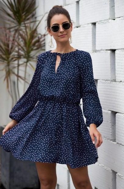 Mini Robe Boho à Pois Minute Mode Bleu S
