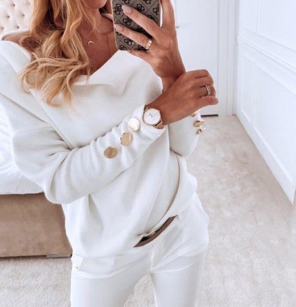 Petit pull élégant Minute Mode Blanc S