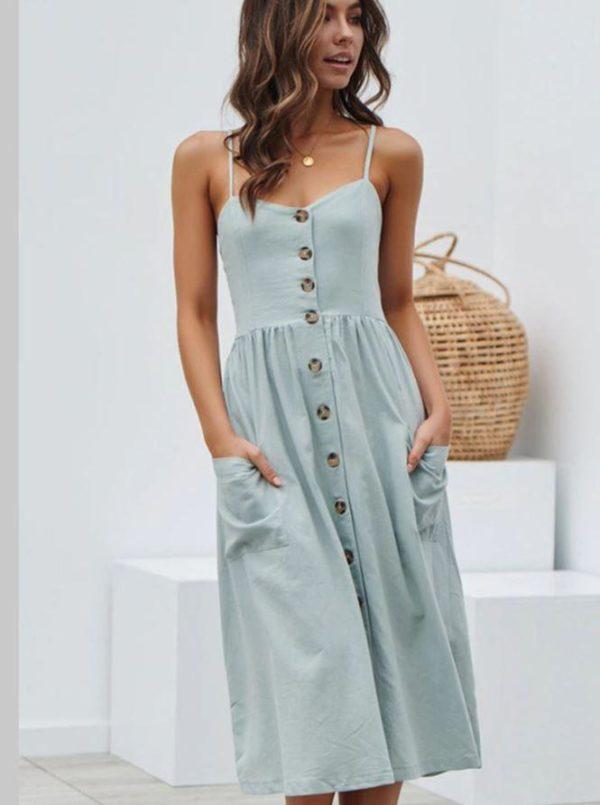 Robe Midi Boutonnée Site Vêtements Bleu XL