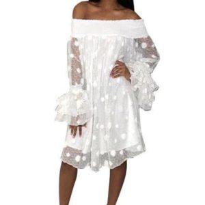 Mini Robe à Imprimé Circulaire Minute Mode Blanc S