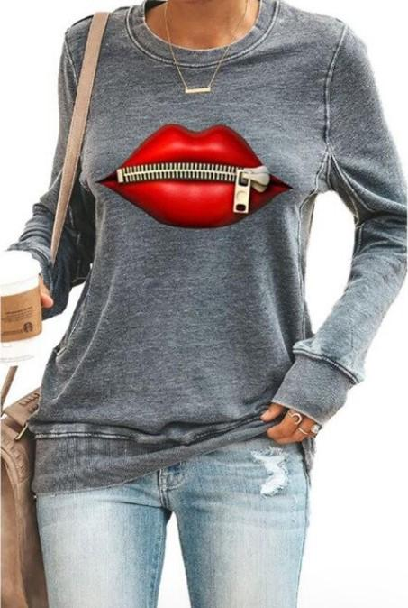 """Sweat à Manches Longues """"RED LIPS"""" Minute Mode Gris M"""