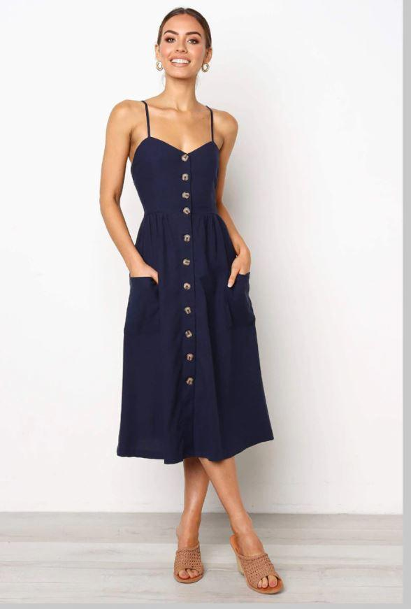 Robe Midi Boutonnée Site Vêtements Bleu - Foncé XL