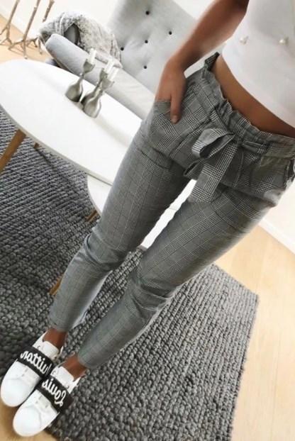 Pantalon tendance avec cordon Minute Mode Gris carreaux S