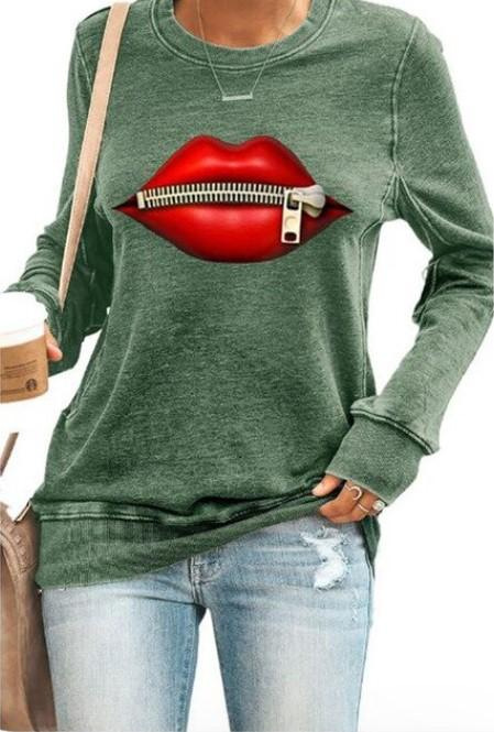 """Sweat à Manches Longues """"RED LIPS"""" Minute Mode Vert M"""