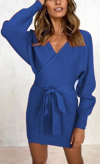 Robe pull moderne Minute Mode Bleu L