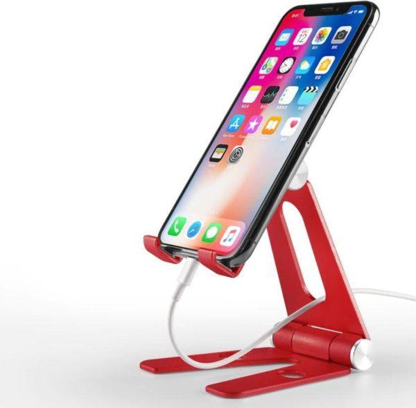 Support pliable et rotatif pour téléphone ou tablette Raton Malin Rouge