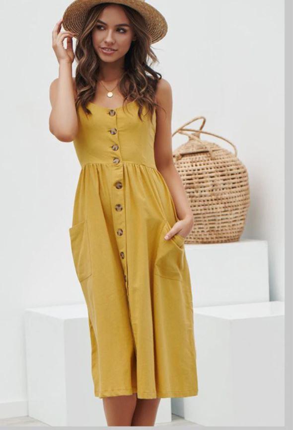 Robe Midi Boutonnée Site Vêtements Jaune XL