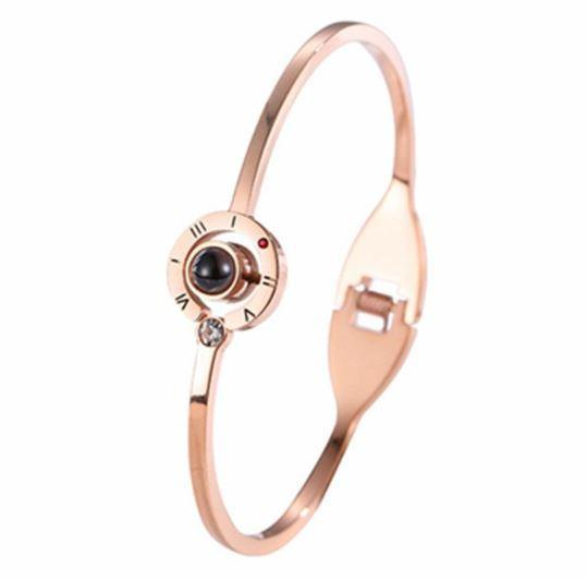 "Bracelet ""Je t'aime"" en 100 Langues Raton Malin Or Rose"