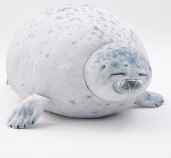 Coussin en Peluche - Forme de Phoque Raton Malin 40cm Blanc