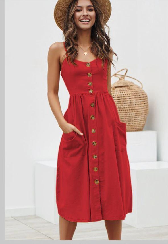 Robe Midi Boutonnée Site Vêtements Rouge Uni XL