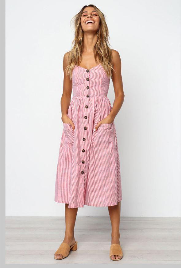 Robe Midi Boutonnée Site Vêtements Rouge rayé XL