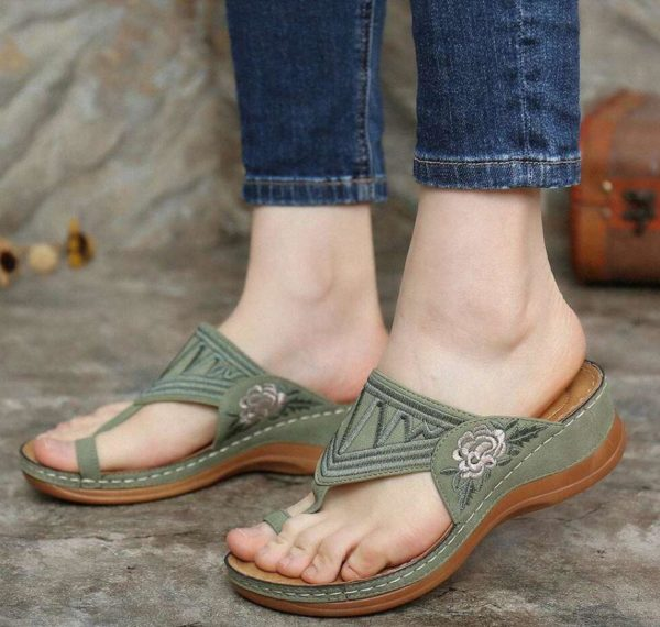 Sandales Casual à Broderie Minute Mode Vert 43