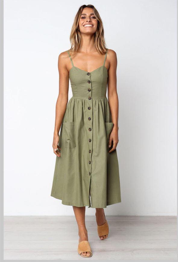 Robe Midi Boutonnée Site Vêtements Vert XL