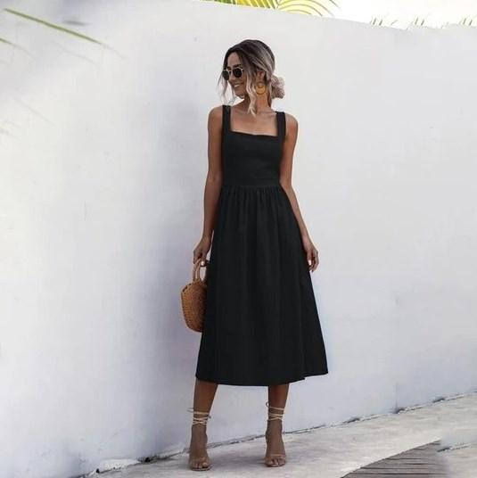 Robe Midi Élégante Minute Mode Noir M