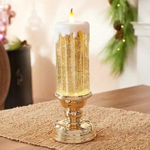 Bougie LED Rechargeable - Décoration De Noël Flash Ventes Socle doré