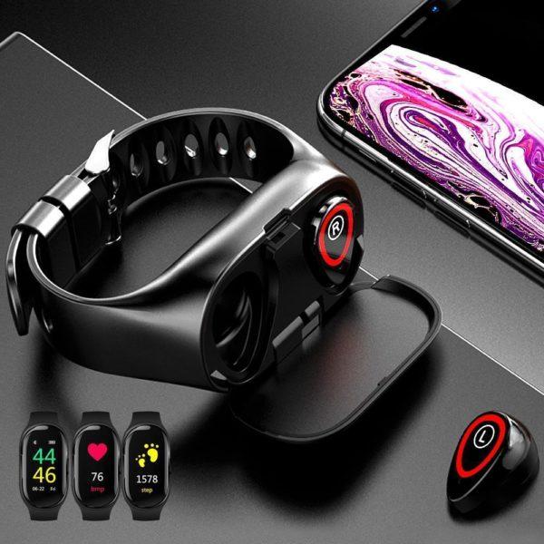 TWS Bluetooth 5 Wearbuds, La Meilleure Montre Connectée Écouteur Bluetooth