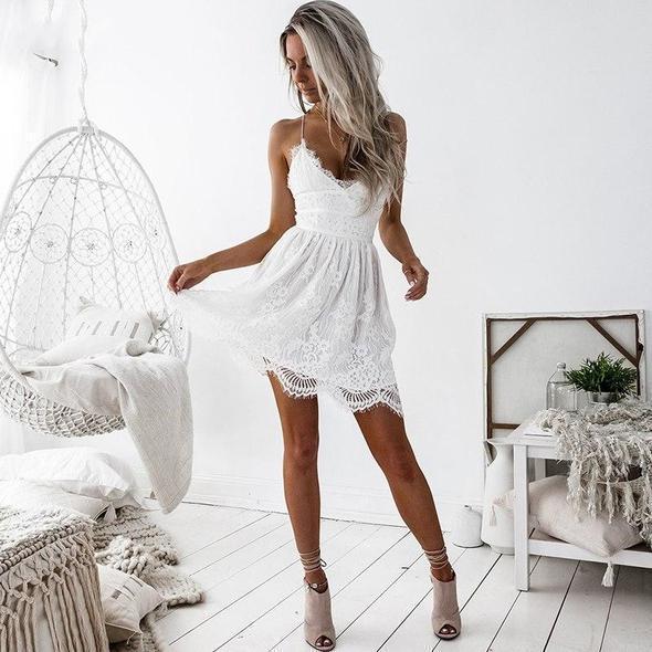 Petite Robe Dentelle Minute Mode Blanc L