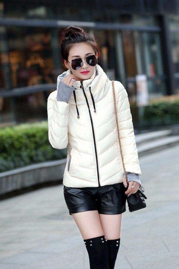 Gros manteau matelassé confortable à capuche Minute Mode Beige M