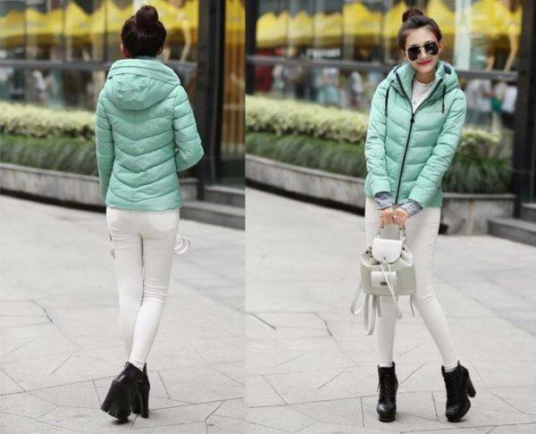Gros manteau matelassé confortable à capuche Minute Mode Bleu ciel M