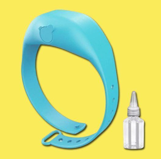 Bracelet Distributeur de gel désinfectant pour les mains - Hygièna™ Raton Malin Bleu