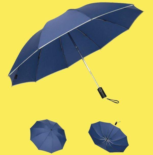 Parapluie Inversé Avec Bande Réfléchissante - BrelaPlus™ Flash Ventes Bleu