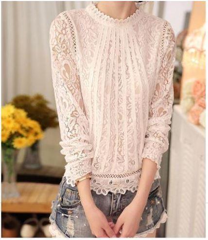 blouse1 Blouse À Manches Longues En Dentelle