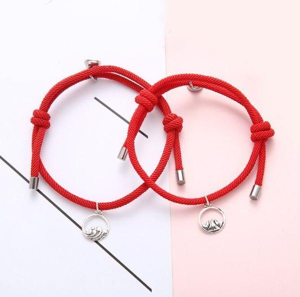 Bracelets De Couple Magnétiques - 2 pièces Flash Ventes Rouge
