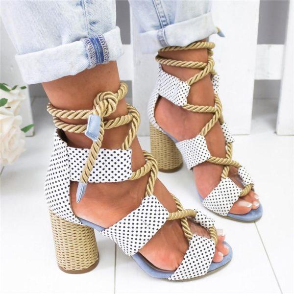 chaussureatalon Les Sandales Cuir À Lacets Pour Femme Au Look Casual Chic