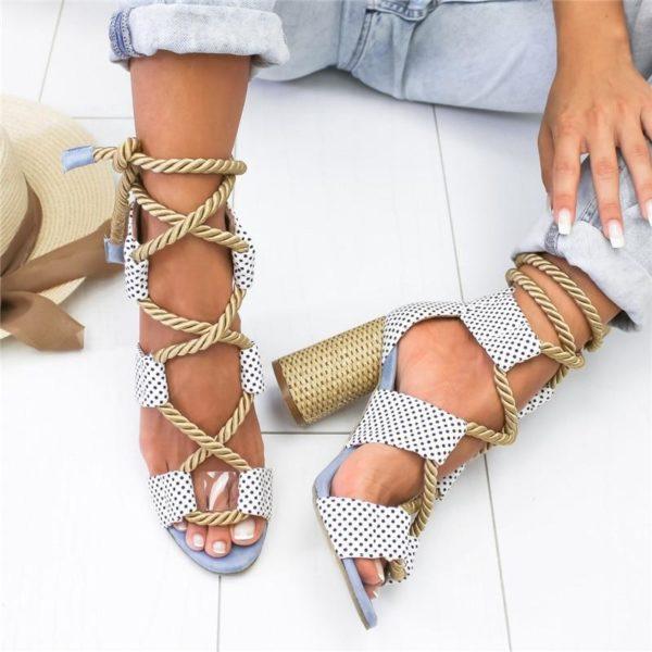 chaussureatalonfemme Les Sandales Cuir À Lacets Pour Femme Au Look Casual Chic