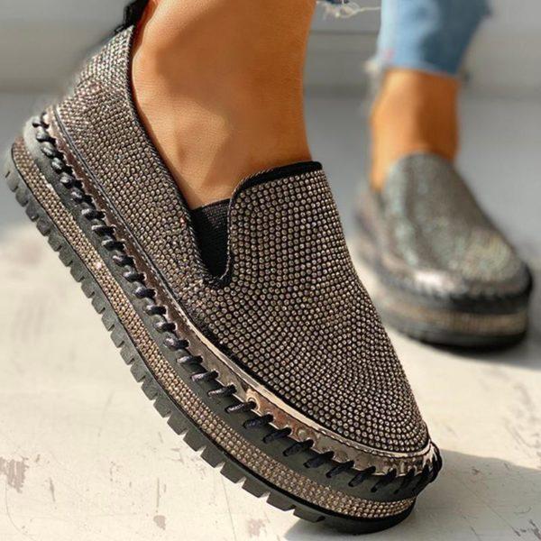 chaussuresmocassinsfemmepascher Les Mocassins Gigi À Enfiler Strass Pour Femme