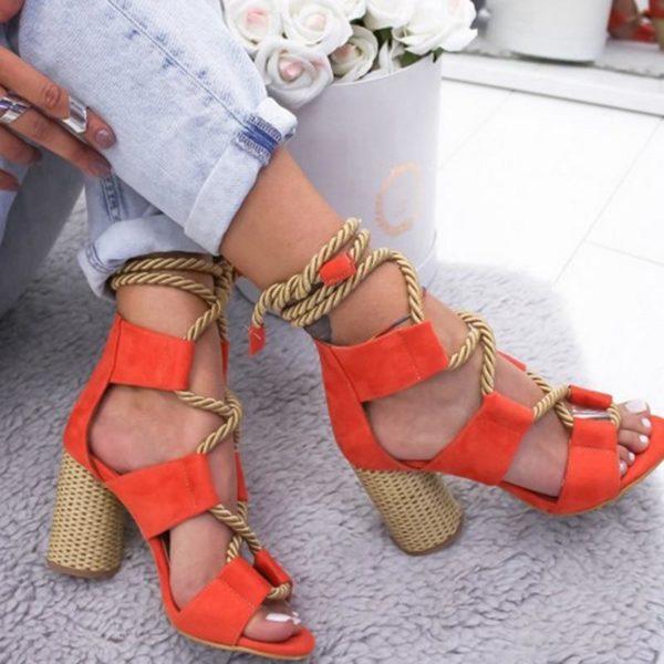 chaussuretalonfemme Les Sandales Cuir À Lacets Pour Femme Au Look Casual Chic