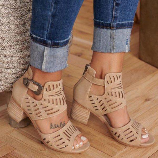 chaussuretalonfemmeete 1c5c74c9 420d 40ec 8f65 a48acbf4bd77 Les Bottines Été En Cuir Avec Talon Pour Un Look Féminin