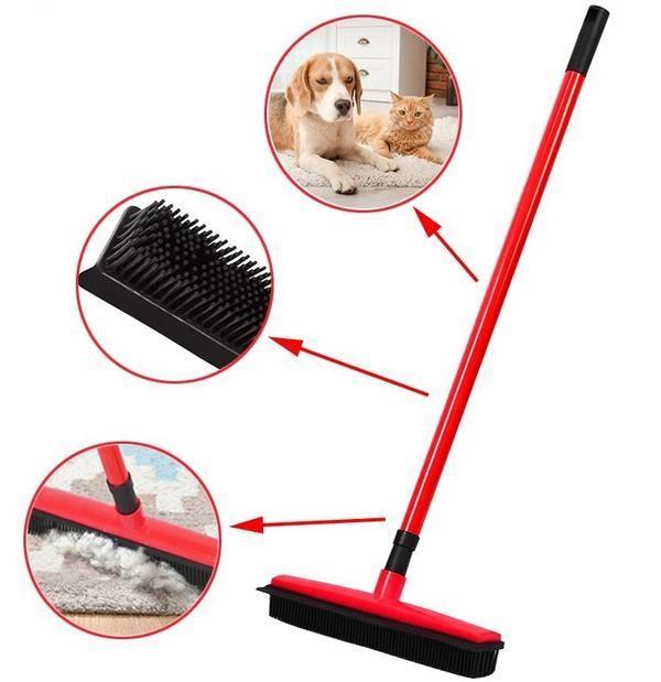 chien Balai Multifonctionnel Avec Manche Télescopique Pour Poils D'animaux