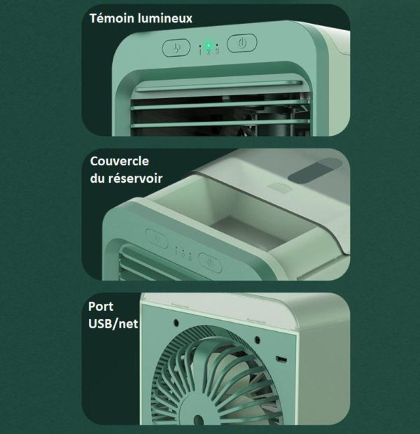 clim1 Mini Climatiseur Rechargeable À Eau