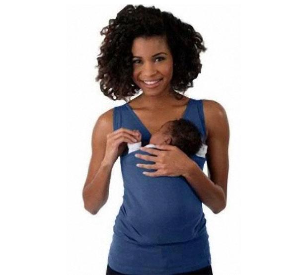 T-shirt Porte-Bébé Kangourou Raton Malin Bleu Femme XXL