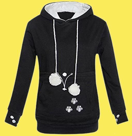 Sweat à capuche poche kangourou pour chien et chat Raton Malin Noir S
