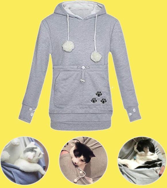 Sweat à capuche poche kangourou pour chien et chat Raton Malin Gris XXL