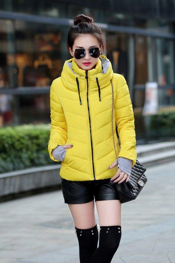 Gros manteau matelassé confortable à capuche Minute Mode Jaune M