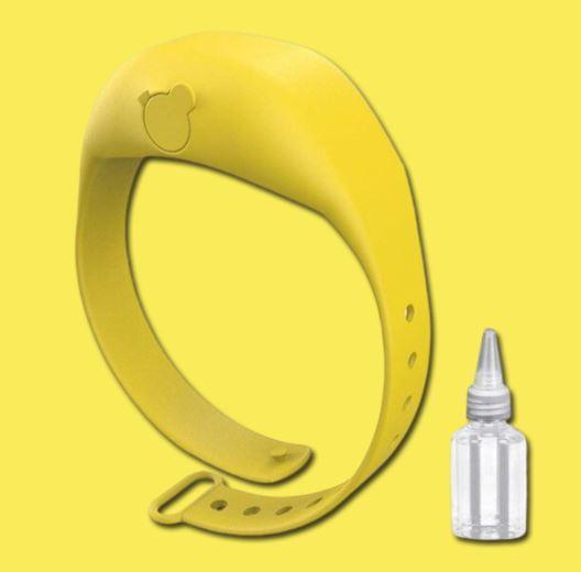 Bracelet Distributeur de gel désinfectant pour les mains - Hygièna™ Raton Malin Jaune