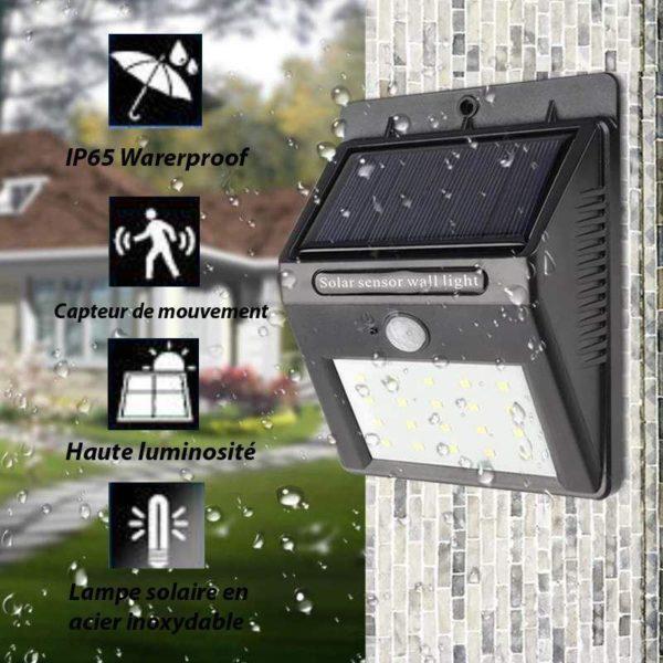 lampe solaire 1 Lampe Solaire Avec Capteur De Mouvement (Lot De 3)