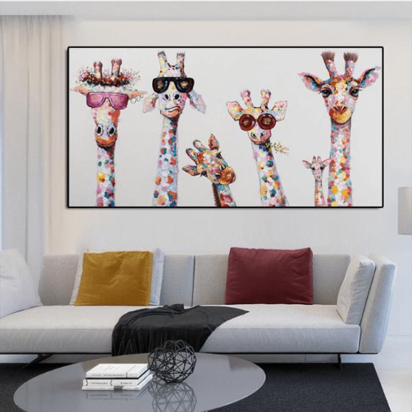 lesgirafespop Le Tableau Girafes Pop Art Pour Une Décoration Originale