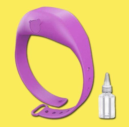 Bracelet Distributeur de gel désinfectant pour les mains - Hygièna™ Raton Malin Violet