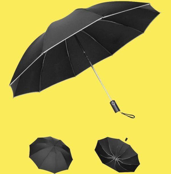 noir 5f71fb66 46bd 4236 ba16 af7a7abe73bf Parapluie Inversé Avec Bande Réfléchissante - Brelaplus™