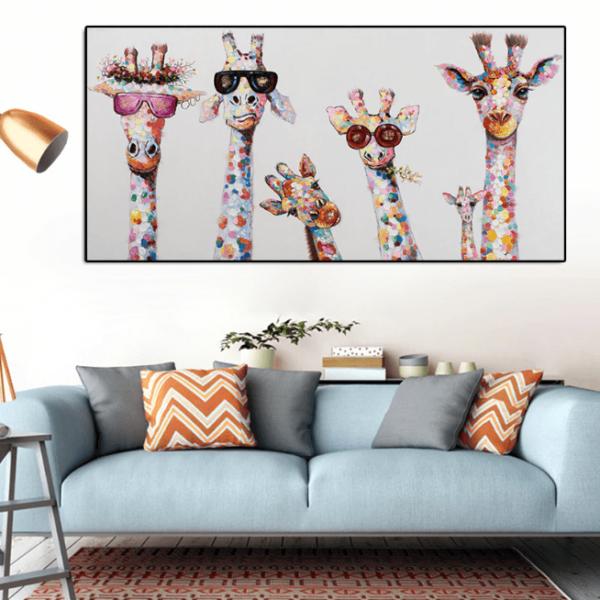 peinturegirafepopart Le Tableau Girafes Pop Art Pour Une Décoration Originale