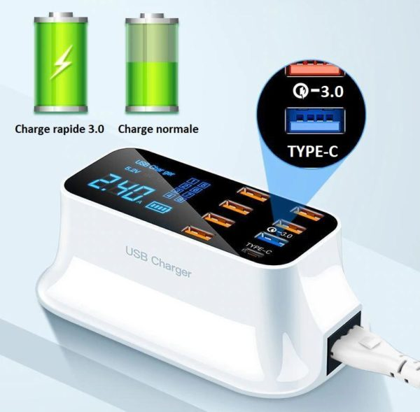 phone3 Chargeur Rapide Usb 8 Ports 3.0 Affichage Lcd